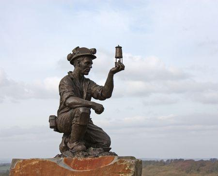 Eine Statue von einem British Coal Miner.