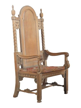 A Large Ancient Antique Wooden Church Chair.