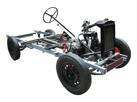 A Cutaway Display of a Car Chassis and Engine.