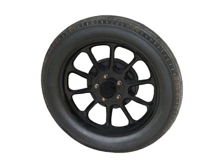 An Old Fashioned Car Wheel and Tyre. Stock Photo - 5872976