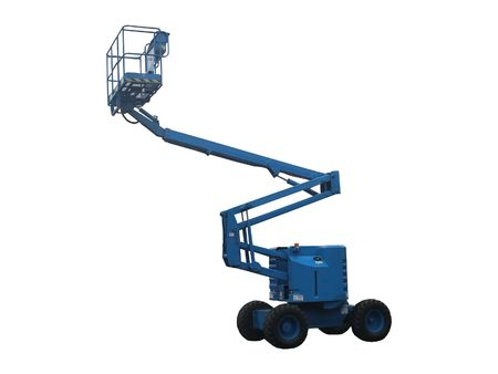 A Blue Mechanical Lift Vehicle - Cherry Picker. Stock Photo
