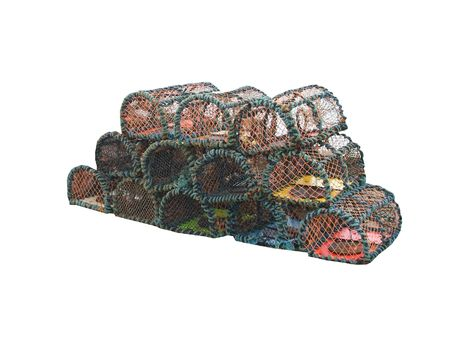 crab pots: A Collection of Fishing Lobster and Crab Pots. Stock Photo