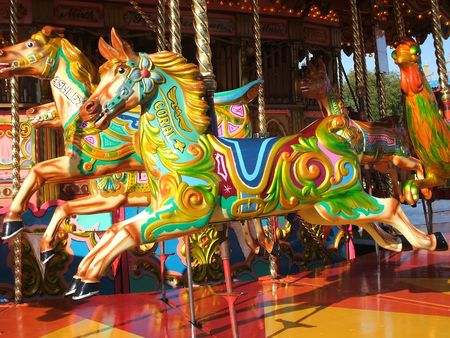 fun fair: A Carousel Horse on a Fun Fair Ride.