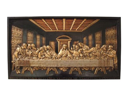 disciples: A Cast Iron Plaque Depicting the Last Supper  Stock Photo