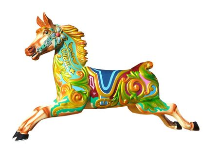A Colourful Amusement Ride Fun Fair Carousel Horse.