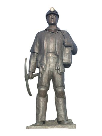COAL MINER: A Statue of a British Coal Miner. Stock Photo