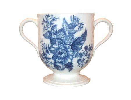 handled: A Nicely Decorated Two Handled Porcelain Mug.