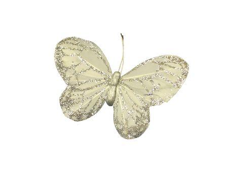 broach: A Pretty Jewel Encrusted Silk Butterfly Broach.