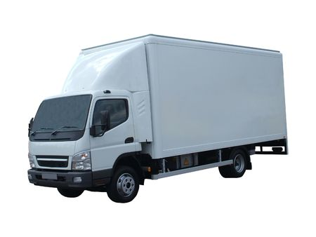A Large Road Transport White Delivery Lorry.