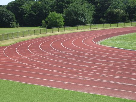 The Corner of an Athletics Running Track. Stock Photo