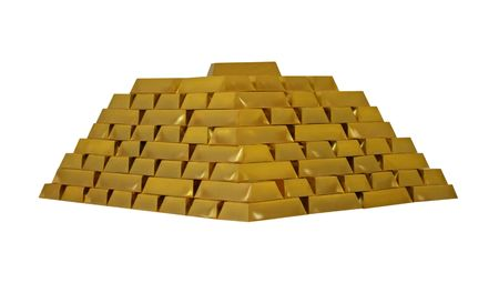 A Large Stack of Gold Bullion Bars. photo