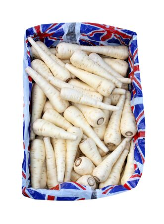 parsnips: A Display Box of British Parsnips Vegetables.