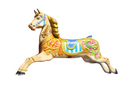 fun fair: An Isolated Carousel Horse from a Fun Fair Ride. Stock Photo