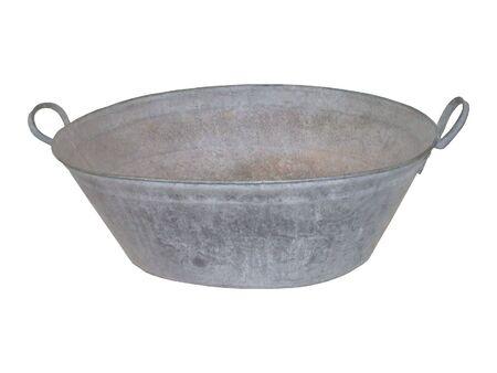 An Antique Metal Galvanised Tin Bath Tub.
