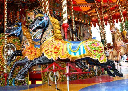 Carousel Horses on a Traditional Fun Fair Ride.