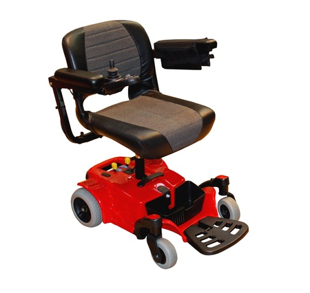 rollstuhl: Einen modernen elektrischen Rollstuhl f�r eine behinderte Person.