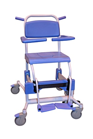 A Metal Framed Commode and Shower Wheel Chair.