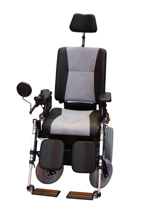 A Grey and Black Motorised Disability Wheelchair. Stock Photo