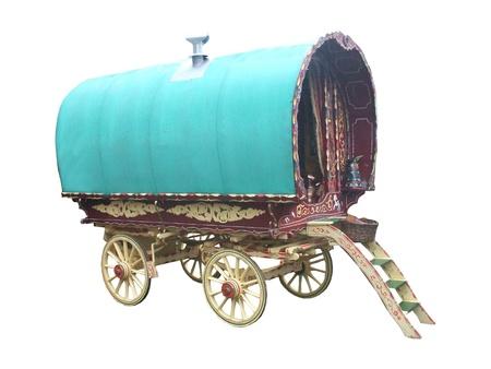 Een traditionele Gypsy paard getrokken Caravan. Stockfoto