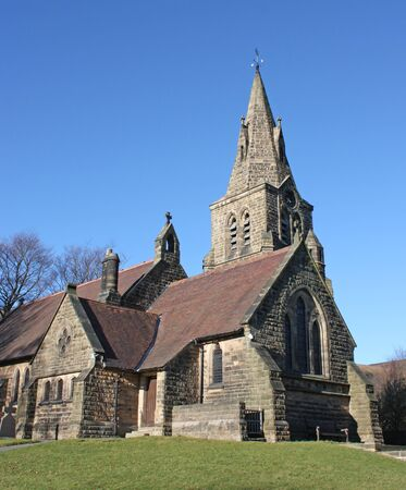 church architecture: A Beautiful English Country Church on a Sunny Day. Stock Photo