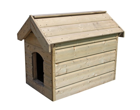 A Large Wooden Outdoor New Dog Kennel.