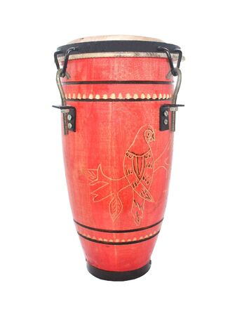 bongo drum: A Typical Red Wooden Caribbean Bongo Drum.