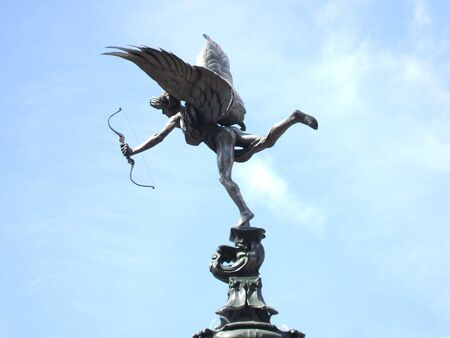 piccadilly: The Eros Statue at Piccadilly Circus in London.