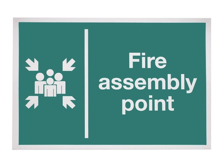 safety: A Fire Assembly Point Sign.