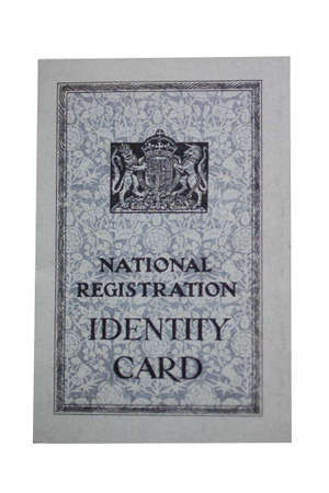 wartime: A Replica of a British Wartime Identity Card.