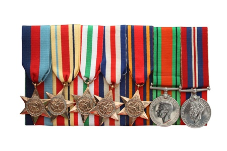 A Collection of British Army Second World War Medals. Stock Photo