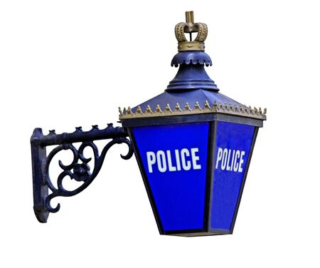 An Outdoor Blue Sign for a Police Station. Stock Photo