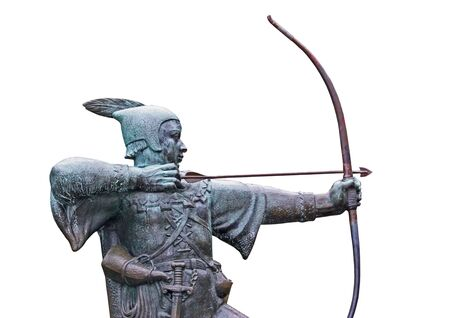 outlaw: The Statue of the Medieval Outlaw Robin Hood.