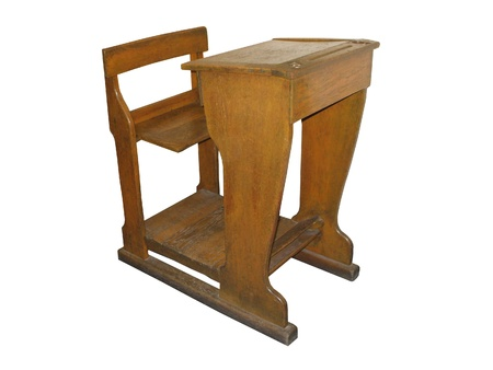 An Old Fashioned Wooden School Desk with Seat. Stock Photo