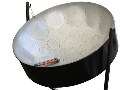 A Caribbean Style Musical Metal Steel Drum. Stock Photo