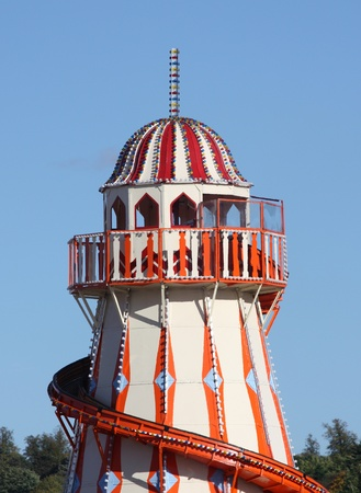 The Top of a Fun Fair Helter Skelter Ride. Stock Photo