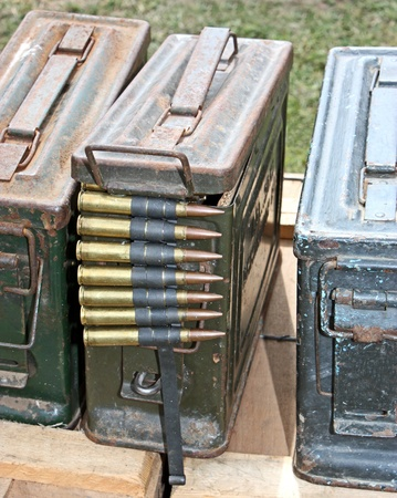 world war two: World War Two Ammunition Containers and Bullets.