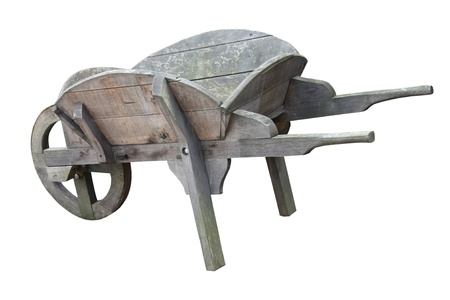 An Old Grey Vintage Wooden Gardening Wheelbarrow.