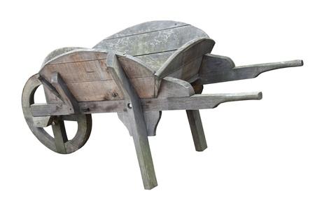 An Old Grey Vintage Wooden Gardening Wheelbarrow.