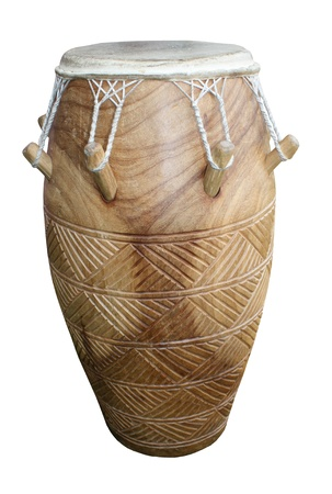 bongo drum: A Nicely Decorated Wooden Percussion Bongo Drum. Stock Photo