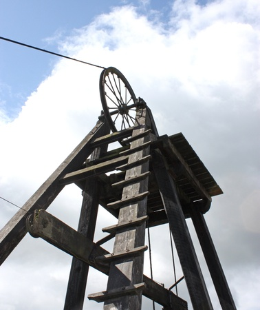 An Old Coal Pit Wooden Winding Headstocks.