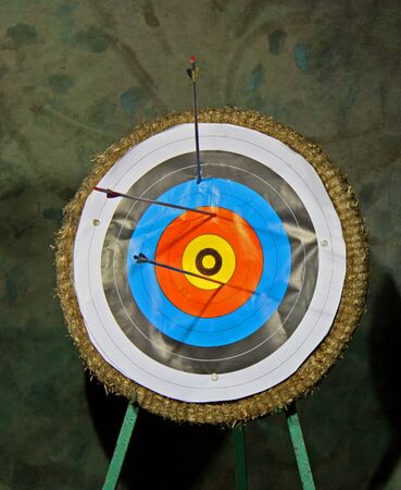 A Traditional Archery Target on a Straw Backed Stand. photo