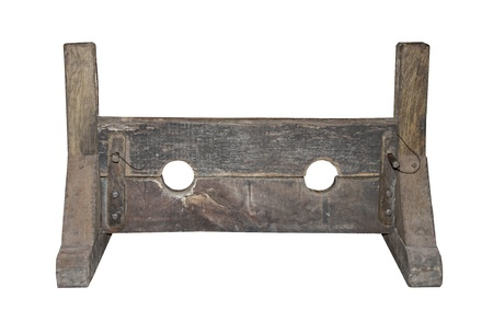 A Wooden Set of Medieval Punishment Stocks. Banque d'images