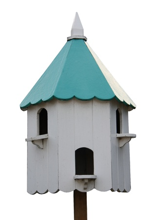 bird house: A Blue and White Wooden Bird Nesting Box and House. Stock Photo