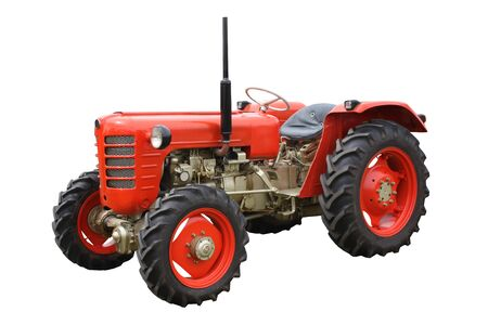 A Classic Vintage Agricultural Red Farming Tractor.