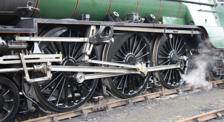 The Heavy Metal Wheels of a Steam Train Locomotive. photo