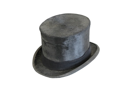 A Traditional Old Fashioned Grey Top Hat. Stock Photo