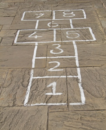 hopscotch: A Traditional HopScotch Game Marked Out on Slabs
