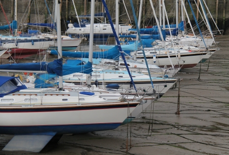 Boats in a Harbour When The Tide is Out  Stock Photo - 15813667