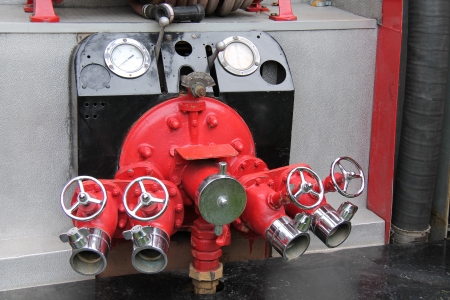 fire fighting equipment: The Hose Valves and Connectors on a Fire Engine.