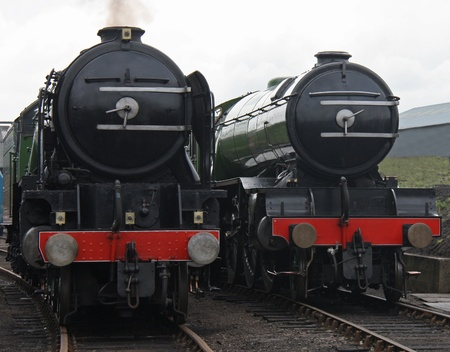 Two Magnificent Powerful Vintage Steam Train Engines Stock Photo - 16483522